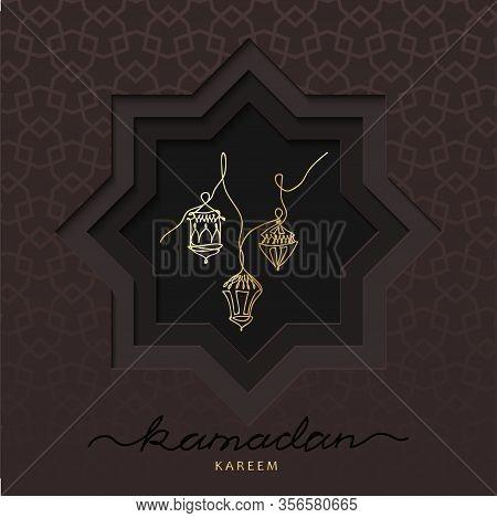 Ramadan Square Card With Lanterns, Arabic Lamps. Vector Papercut Card Design. Brown Paper Cutout Dec