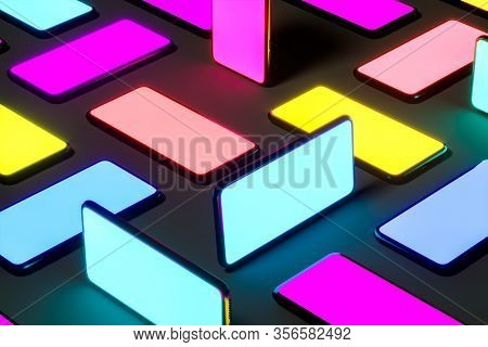 Mobile Phones With Multicolored Screens On Black Background. Yellow. Blue. Violet, Orange, Aquamarin