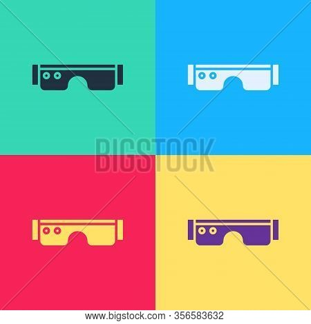 Pop Art Smart Glasses Mounted On Spectacles Icon Isolated On Color Background. Wearable Electronics