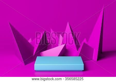 Blank Blue Foursquare Showcase With Empty Space On Pink Background Near Triangular Abstract Figures.
