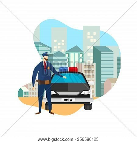 Full Body Front View Of Police Officer Standing At Working Car. Serious Cop, Policeman, Security Gua