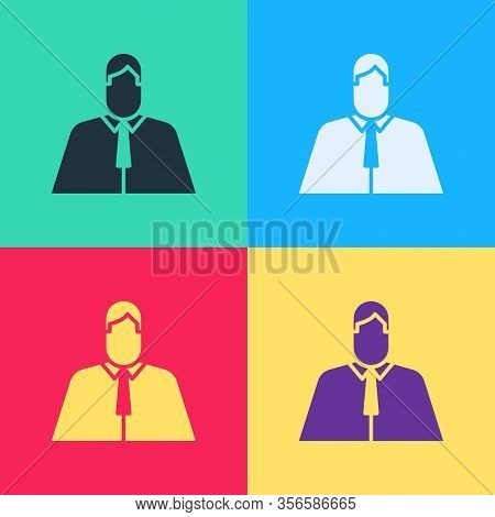 Pop Art Lawyer, Attorney, Jurist Icon Isolated On Color Background. Jurisprudence, Law Or Court Icon
