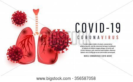 Human Lungs Infected With Coronavirus Bacterium Cells Isolated On White Background With Copispea. Ve