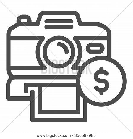 Selling Photos On Stock Line Icon. Photocamera And Dollar Coin Symbol, Outline Style Pictogram On Wh