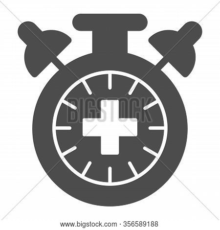 Match Extra Time Solid Icon. Overtime Game, Stopwatch Or Timer Symbol, Glyph Style Pictogram On Whit