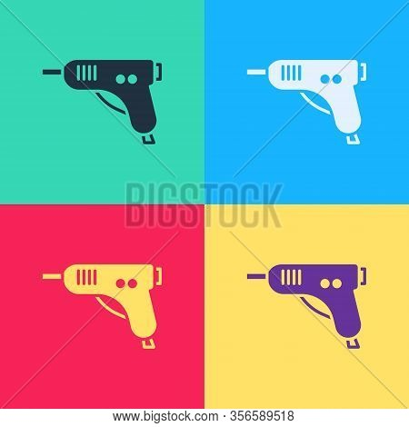 Pop Art Electric Hot Glue Gun Icon Isolated On Color Background. Hot Pistol Glue. Hot Repair Work Ap