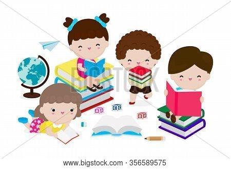 Cute Kids Reading Book, Set Of Children With Books, Happy Children While Reading Books, Education Co