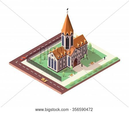 Catholic Cathedral With Ennobled Territory Around. Old Church With Spire, Fenced. Priest Standing Ne