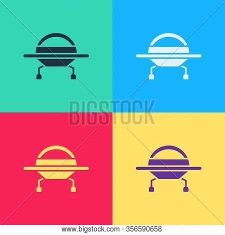 Pop Art Ufo Flying Spaceship Icon Isolated On Color Background. Flying Saucer. Alien Space Ship. Fut