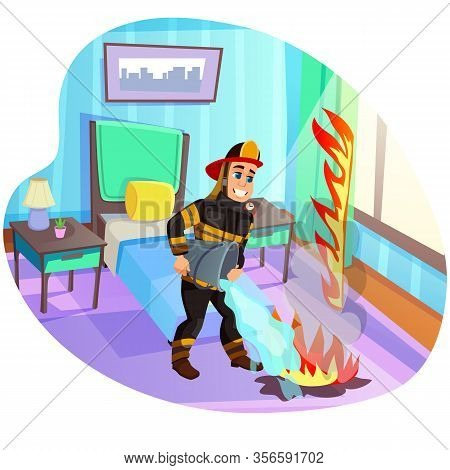 Hotbed In Bedroom. Professional Firefighter With White Toothy Smile, Fully Equipped In Protective Cl