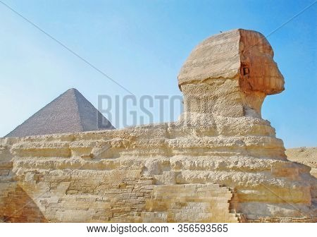 Ancient Great Sphinx Of Giza. The Right Side View Point.