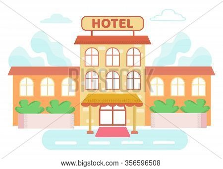 Informational Poster On Building Is Written Hotel. Information Booklet With Price List And Hotel Ser