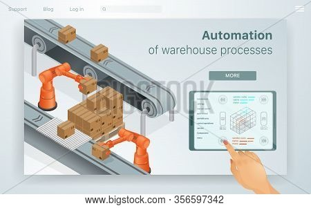 Web Illustration Automation Warehouse Processes. Female Hand Adjusts Machines For Work In Special Wa
