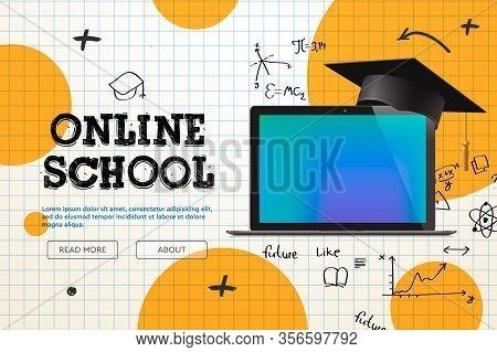 Online School, Distance Learning, Website Page, Vector Illustration.