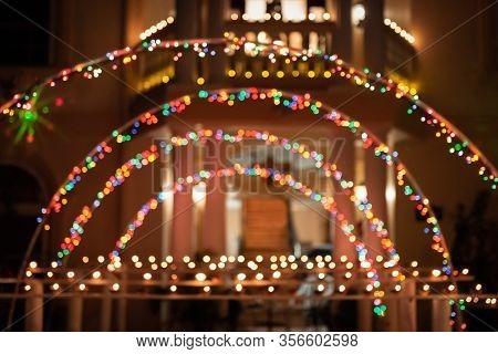 Diwali Festival Of Light Hindu Religion Traditional Ritual Trinidad Tobago Arched Bokeh Trellis