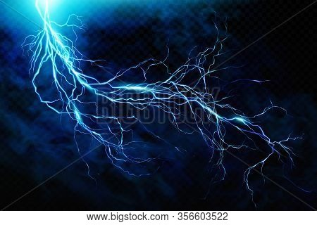 Big Lightning On The Skya Flash Of Lightning Against A Background Of Thunderclouds. Natural Energy.
