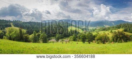 Alps Mountain Meadow Tranquil Summer View.  Mountain Valley Village Landscape Summer. Mountain Villa