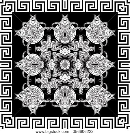 Greek Frame. Floral Intricate Seamless Pattern. Vector Abstract Black And White Background. Line Art