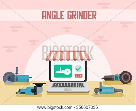 Advertising Flat Brand Online Shop Banner Vector Power Tools Angle Grinder Illustration Variety Offe