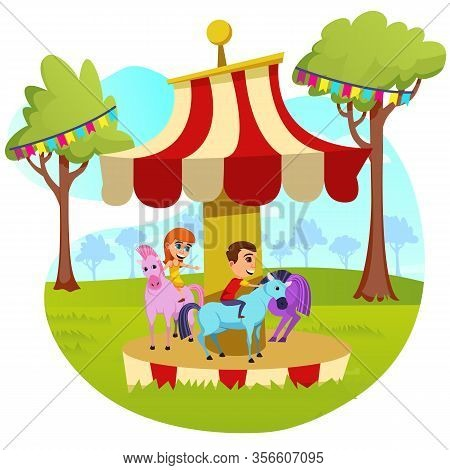 Advertising Banner Childrens Carousel Cartoon. Poster Fairy-tale World For Adults And Children In An