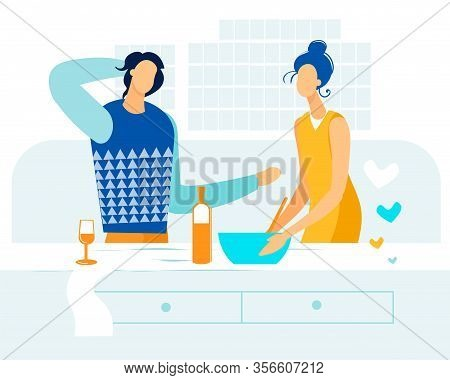 Advertising Banner Cooking Dinner Couple In Love. Division Labor In Family Life. Man And Woman Have