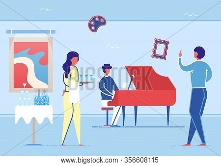 Artist Playing Piano In Art Gallery Hall Flat Cartoon Vector Illustration. Musician Character Playin