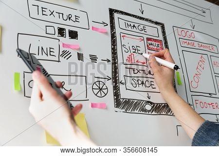 Women Website Designer Creative Planning Application Development Drawing Template Layout Framework W