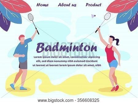 Badminton Design Flat Landing Page. Racquet Sport Advertisement. Man And Woman Players Wearing Summe