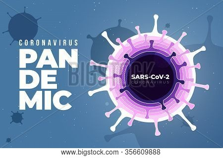 Coronavirus Covid-19 Sars-cov-2 On A Blue Futuristic Background. Virus Infections Prevention Methods