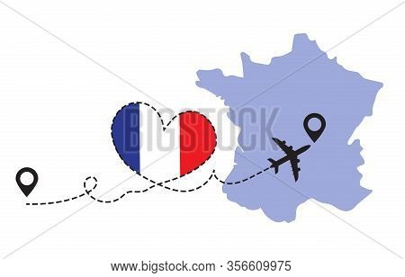 Travel To France By Airplane Concept. I Love France Vector Illustration