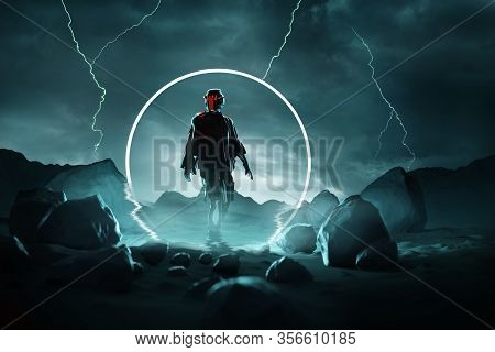 Hostile Arrival. A Futuristic Spaceman Arrives Onto A Stormy Planet Surface. Conceptual 3d Illustrat