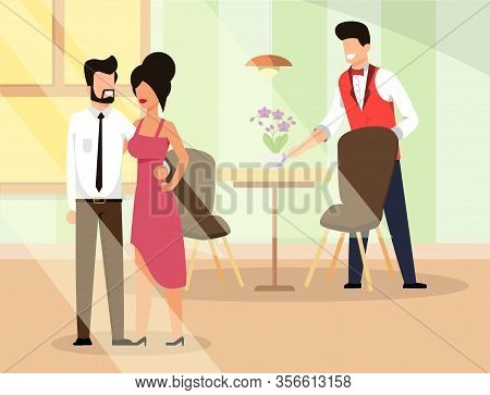 Couple In Love Go Restaurant Illustration Flat. Man And Woman In Elegant Clothes Are Leaving Place.