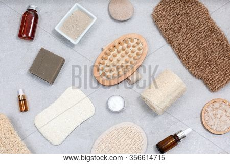 Set Of Eco-friendly Sponges For Body Care And Natural Cosmetic