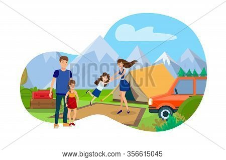 Family In Mountain Camp Flat Vector Illustration. Cartoon Parents On Vacation Enjoying Leisure Time