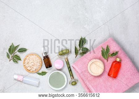 Spa Product Composition With Natural Cosmetics At Stone Table