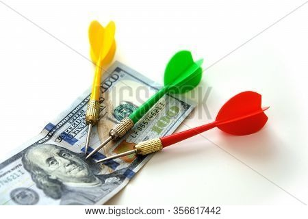 100 Usd Paper Banknote Money And Dart Arrow On White Ground, Target Make Money,