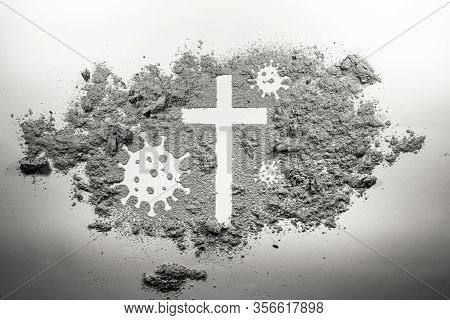 Christian Cross And Covid-19, Coronavirus Virus Bacteria Microbe Germ Made In Ash, Dirt, Dust As Rel