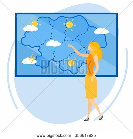 Informational Flyer Weather Forecast Cartoon. Vector Illustration. Flat Banner Beautiful Girl Leads
