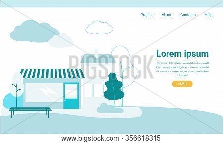 Landing Page With Advertising Editable Information. Vector Summer Street Cafe. Park Vegetation Lands