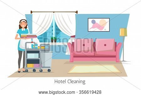 Hotel Cleaning Flat Cartoon Banner Vector Illustration. Maid In Uniform Pushing Trolley Cart With Su
