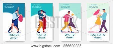 Dance Classes Advertisement. Dance School Flyer Template With Man Woman Dancers. Teaching Classic Wa