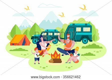 Family Camping, Outdoor Leisure, Travel With Car Trailer Flat Vector Concept. Parents With Children