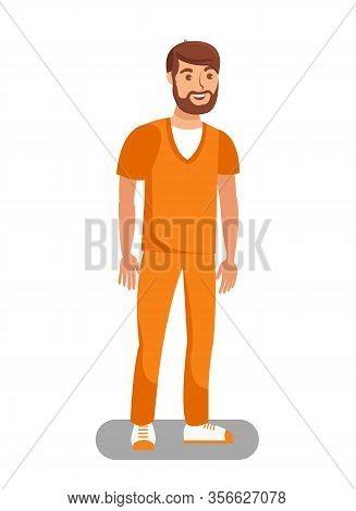 Prisoner Released On Bail Flat Vector Illustration. Unchained Lawbreaker, Offender Cartoon Character