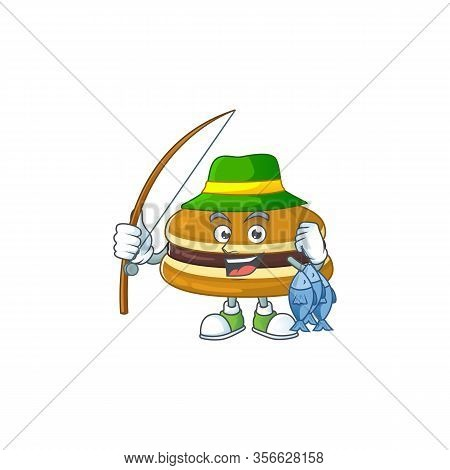 Cartoon Character Style Of Funny Fishing Dorayaki