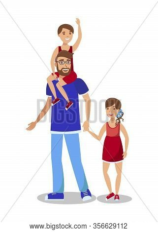 Young Man With Children Flat Vector Illustration. Parent, Little Boy And Girl Cartoon Characters. Ch