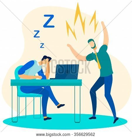 Angry Boss Chief Shouting Lazy And Exhausted Executive Manager. Office Worker Falling Asleep At Work