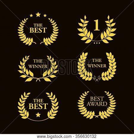 Greek Olive Branch For Winner Award Or Decorative Leaf Frame Vector Illustration Isolated On Black B