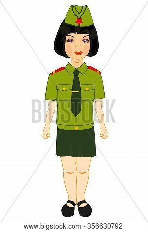 Girl Military On White Background Is Insulated