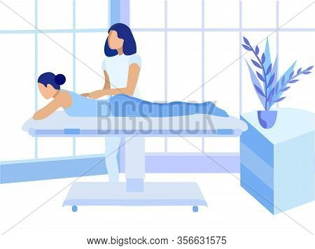 Chiropractor Making Woman Back Therapeutic Massage. Injured Spine Recovery And Alignment. Sports Tra