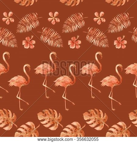 Watercolor Exotic Tropical Seamless Pattern With Flamingo And Palms Leaves. Burnt Orange Jungle Back
